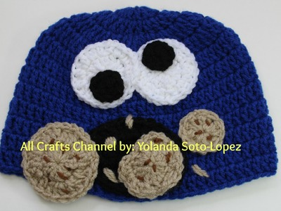 Cookie Monster inspired crochet hat  (Video One)
