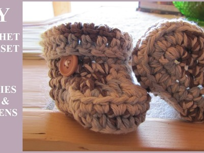 DIY Crochet Baby Set: Ear Flap Hat, Booties, Mittens (Hectanooga1, CrochetHooksYou, TheCrochetCrowd)