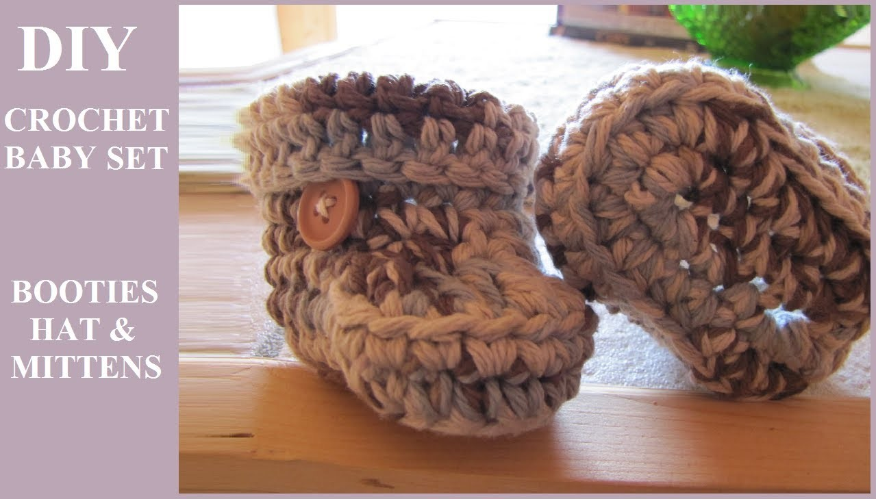 DIY Crochet Baby Set: Ear Flap Hat, Booties, Mittens (Hectanooga1, CrochetHooksYou, TheCrochetCrowd)