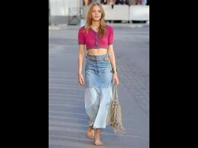DIY HOW TO make a long trendy denim skirt