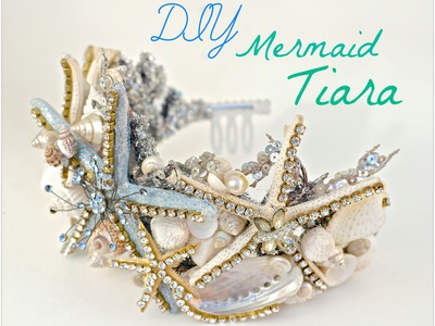 DIY seashell Tiara using a dollar store crown