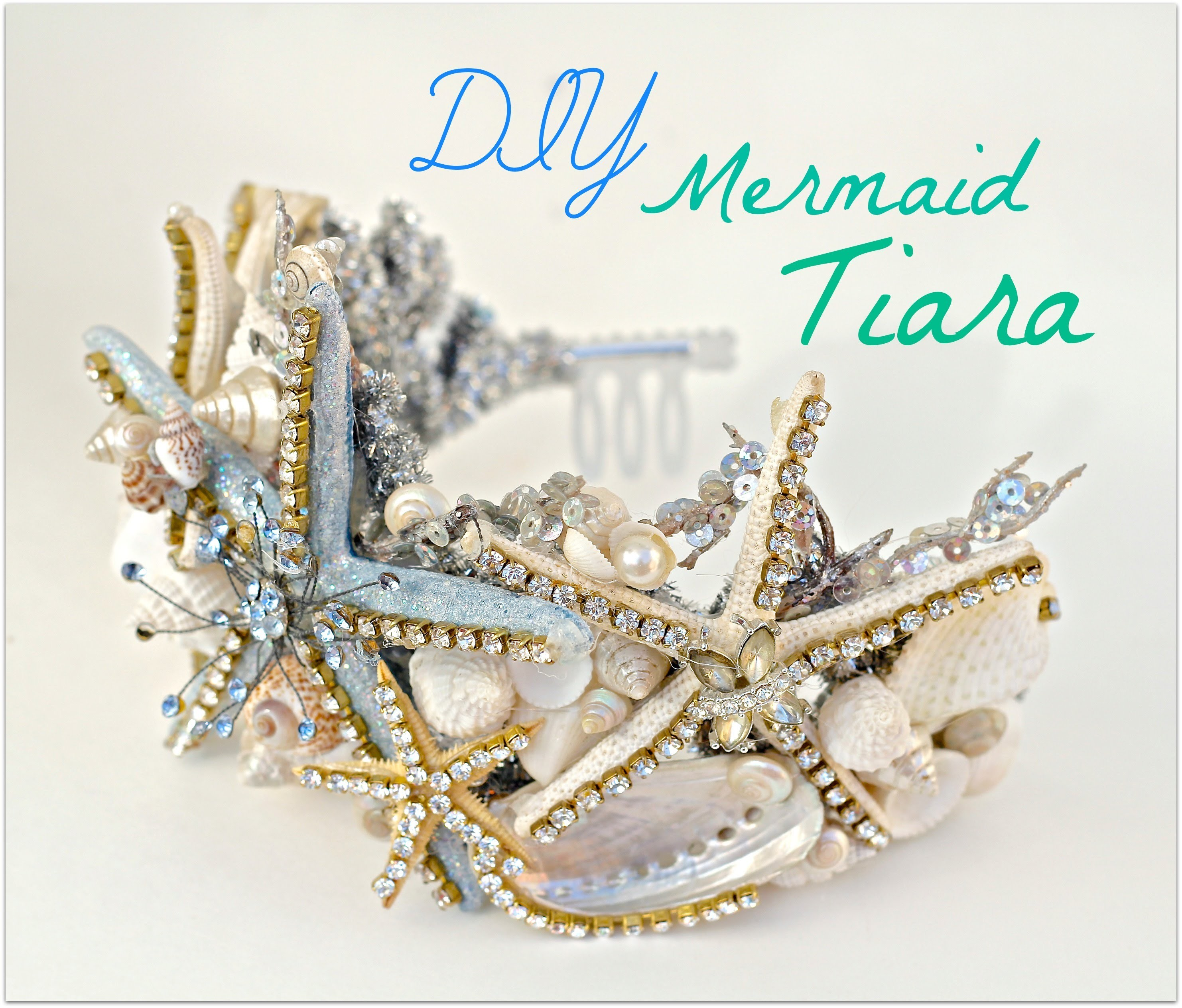 DIY seashell Tiara using a dollar store crown