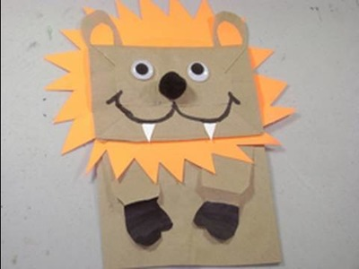 How to make a Puppet Lion with Grocery recycled bag - EP