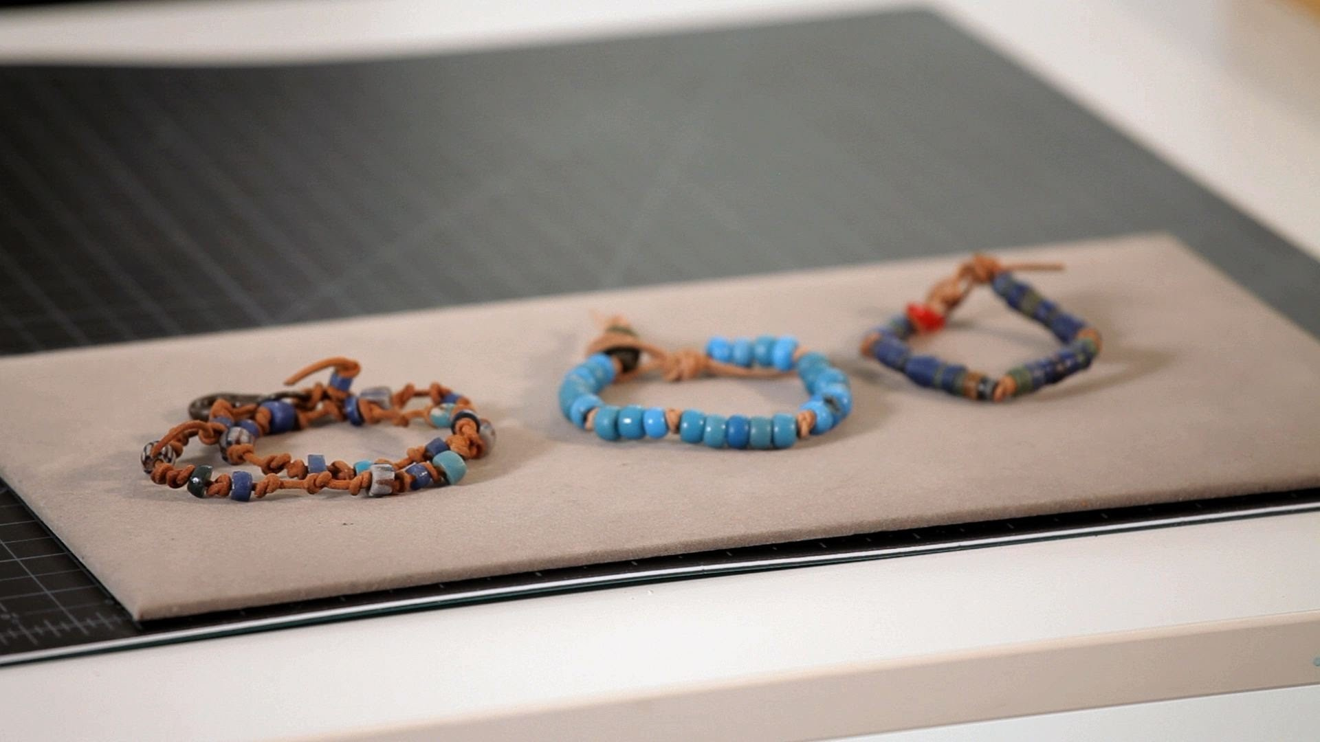 How to Make Leather Bracelet w. Trade Beads   Making Jewelry