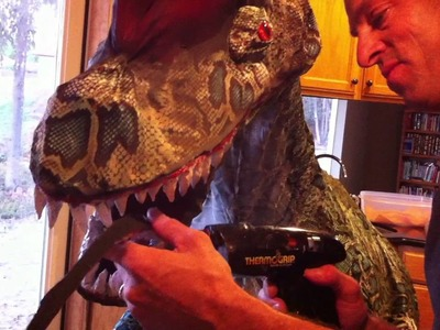 Installing the teeth. How to make Best Homemade Dinosaur Costume ever Trex Dilophosaurus DIY