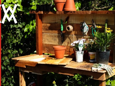 Make a rustic potting bench.  DIY project using upcycled wood and limited tools.