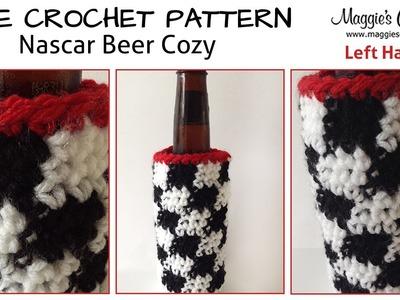 Nascar Beer Cozy Free Crochet Pattern - Left Handed