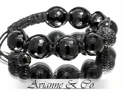 Onyx Ball Bead Diamond Bracelet with Black Diamonds 2.00 Ctw