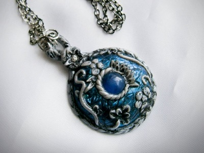 "Polymer Clay Tutorial, pendant.necklace - "" Ice Realm Amulet """