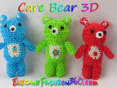 Rainbow Loom Bears.Care Bears.Teddy Bears 3D Charms - How to Loom Bands Tutorial