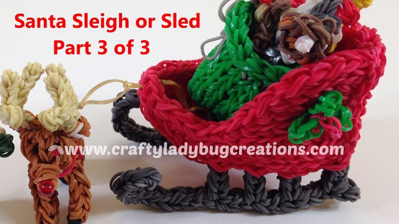 Rainbow Loom Christmas Santa Sleigh or Sled Part 3, How to Make Loom Band Tutorials