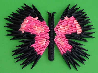 3D origami butterfly assembly diagram (tutorial, instructions) variant 3