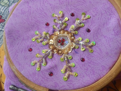 Bead embroidery- how to sew a simple design in a blouse sleeve