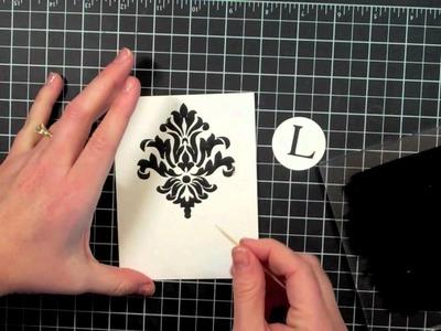 Damask Letterpress Monogram Card Gift Set