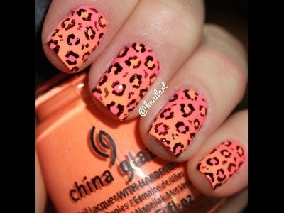 DIY, Cute Neon Ombre Nails With Leopard Print, No Tools Needed, Very Very Cute And Easy Nail-Art