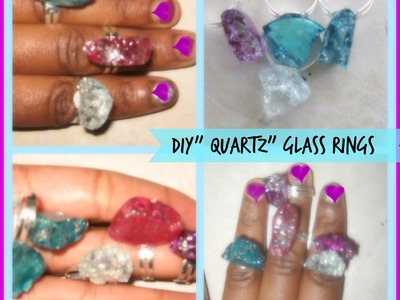 "DIY"" Quartz"" Glass Rings. How to make a Faux Quartz Ring. Faux Druzy Quartz Ring Tutorial"
