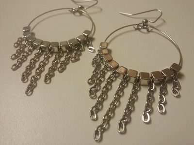 Easy, Cute and Fun DIY Dangle Chain Memory Wire Earrings