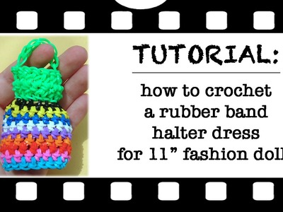 How to make a crochet rubber band dress for dolls