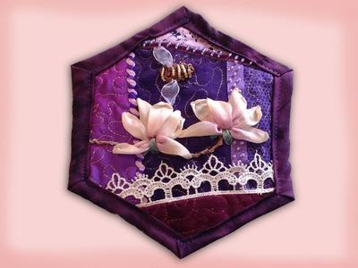 How to make a quilt as you go crazy patchwork hexagon quilt