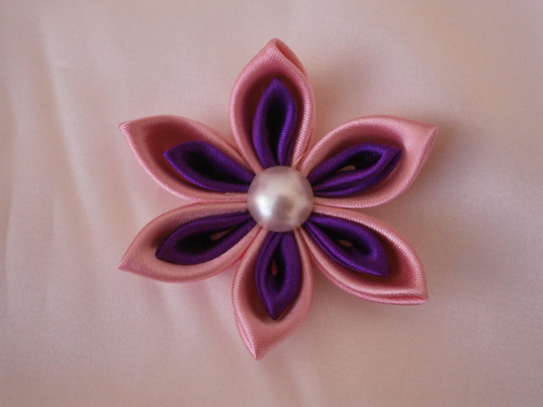 Kanzashi flower tutorial, How to,DIY ribbon flowers,kanzashi flores de cinta