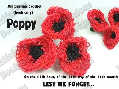 Rainbow Loom - Amigurumi Crochet Poppy for Veteran's.Remembrance Day Loom-less.Hook only