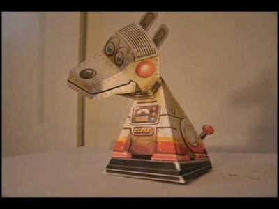 Steampunk Robot DOG Papercraft Optical Illusion