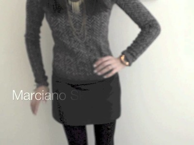 Theory Chunky Knit Sweater and Leather Skirt Style OOTD