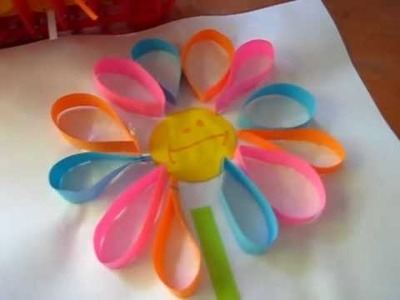 Arts & Crafts activity idea: Colorful paper loop flowers.
