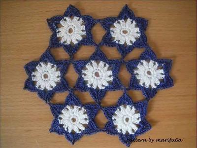Crochet pattern flowers motif doily tutorial