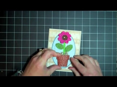 Cuttlebug Embossing Folder Flower Pot Walk in My Garden Cricut Card