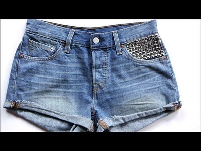DIY Fashion | Studded Jean Shorts | Designer DIY