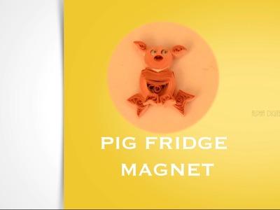 DIY : Fridge Magnet - Pig Design   Quilling Tutorial   Paper Quilling Fridge Magnets