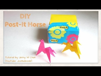 DIY How to fold an Origami. Kirigami Horse, Paper Horse - Post-it Note - Kids Crafts, Paper Crafts