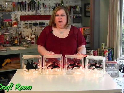 Lighted Glass Blocks with Vinyl - AJ's Craft Room  (Holiday Craft Ideas)