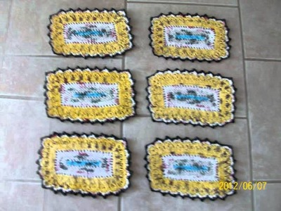 Recycle Grocery bag to Crochet Placemats & Coasters