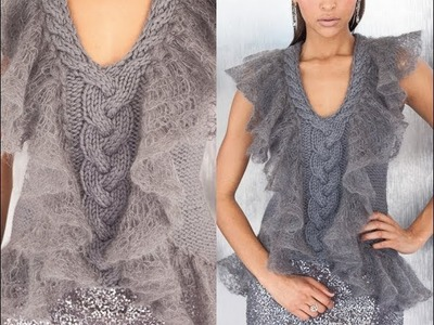 #10 Ruffle Trim Vest, Vogue Knitting Early Fall 2012