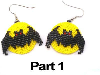 Beading4perfectionists : Halloween Full Moon Bat earrings beading tutorial #1