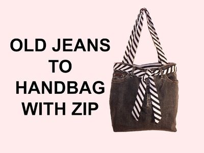 DIY Fashion jean bag (How to make a jean purse with ZIP)
