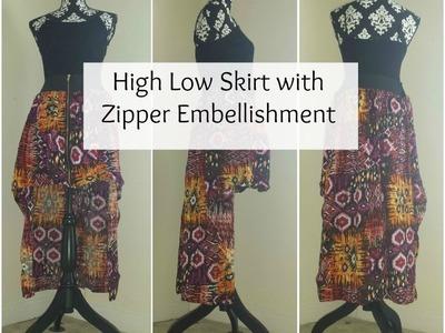 DIY: High Low Skirt with Zipper Embellishment