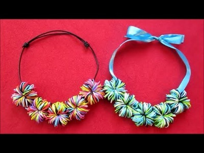 DIY Jewelry | Rainbow Loom Pom Pom Necklace | DIY Crafts and Gifts Ideas For Kids