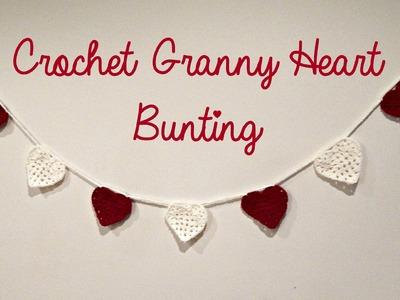 DIY Valentine's Crochet Granny Heart Bunting Room Decor ¦ The Corner of Craft