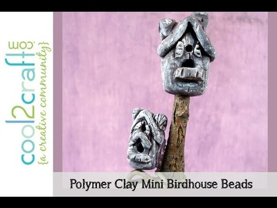 How to Make a Polymer Clay Mini Birdhouse Bead by Candace Jedrowicz DIY Craft