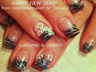 Nail Art Tutorial | DIY Easy NYE Nail art design | New Years Eve Firework Nails!