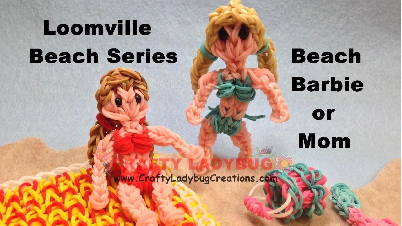 Rainbow Loom Band BEACH BARBIE OR MOM FIGURE Advanced Tutorials.How to Make by Crafty Ladybug