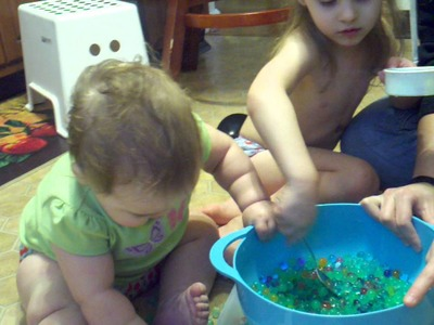 Water beads in the sensory tub