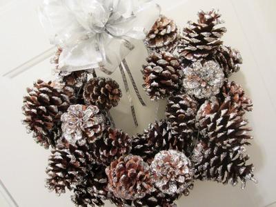 DIY Glitter Pinecone Christmas Wreath