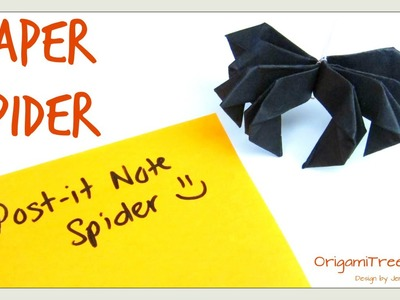 DIY Halloween Crafts - Paper Spider - Post-it Note Crafts Spider - Origami Paper Crafts Kids