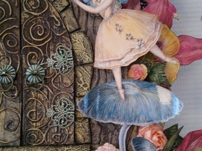 Fairy belle altered canvas with fairy door and tree - Wild Orchid Crafts DT project