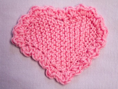 Herz in Kraus rechts mit Häkelkante - Heart in Garter stitch with crochet border