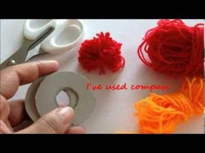 How to make a yarn pompoms cardboard technique